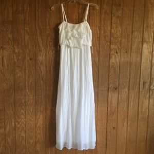 IZ Byer White Ruffle Maxi Dress XL